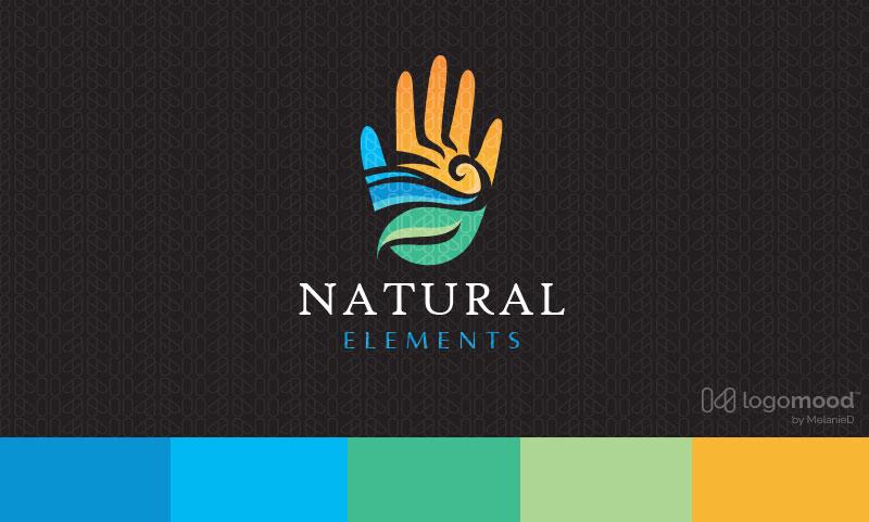 Natural Elements Hand Logo Design For Sale