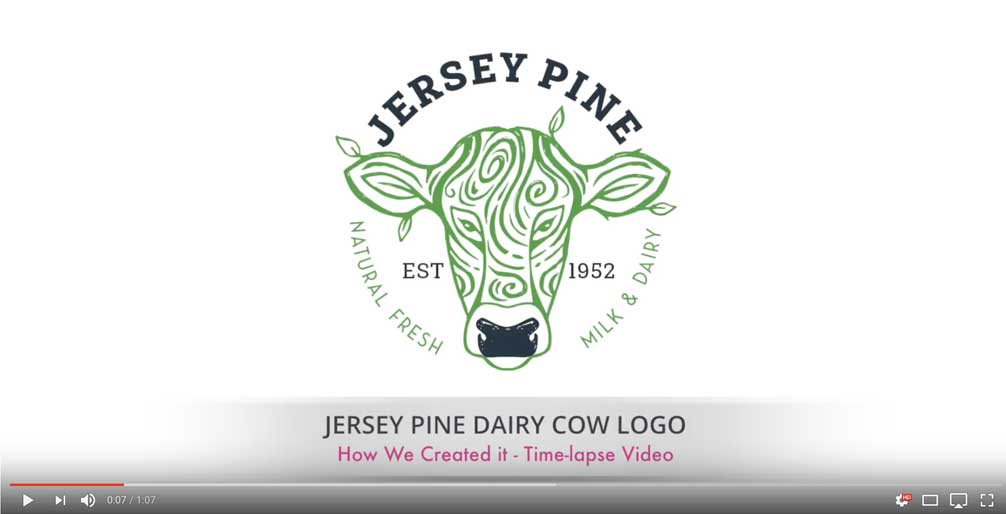Jersey Pine Dairy Cow Logo – Time Lapse Logo Video