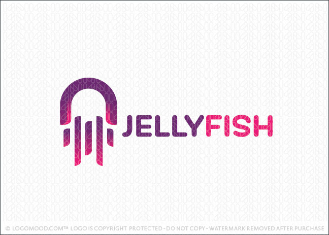 Pink Abstract Jelly Fish Logo For Sale