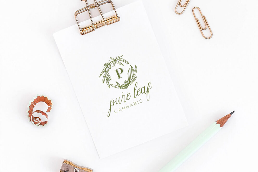 Readymade Logos For Sale Pure Leaf Cannabis Premade Logo for Sale By LogoMood