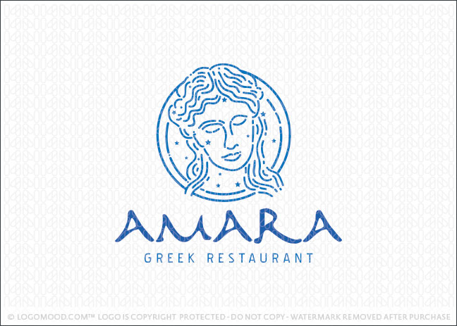 Amara Greek Restaurant Logo For Sale
