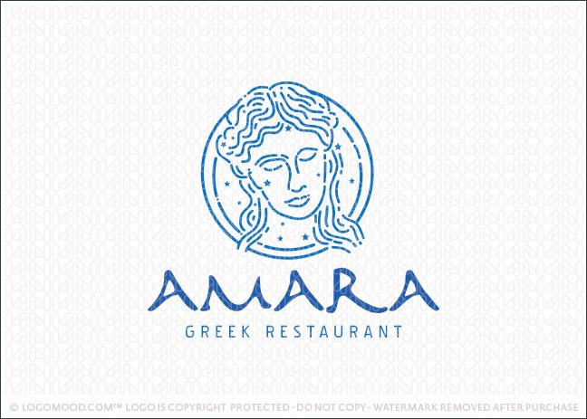 Amara Greek Restaurant Logo For Sale