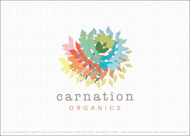 Carnation Natural Flower Logo For Sale