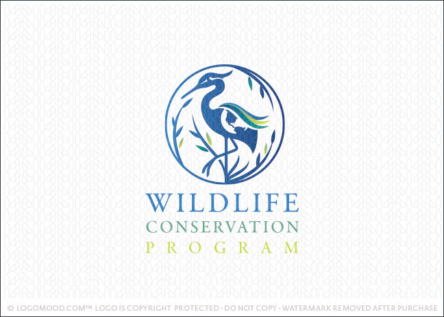 Egret World Conservation Logo For Sale