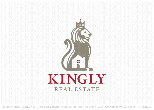 Kingly Lion Real Estate Logo For Sale