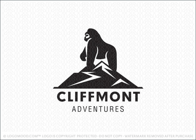 Mountain Cliff Gorilla Logo For Sale