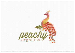 Peachy Peacock Organics Logo For Sale