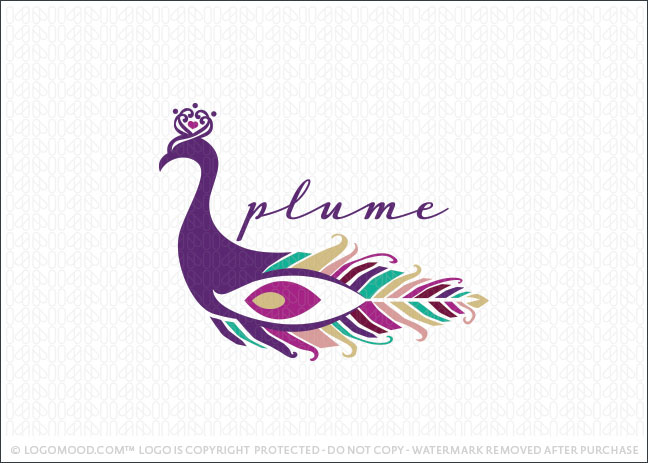 Peacock Plume Feathers Logo For Sale