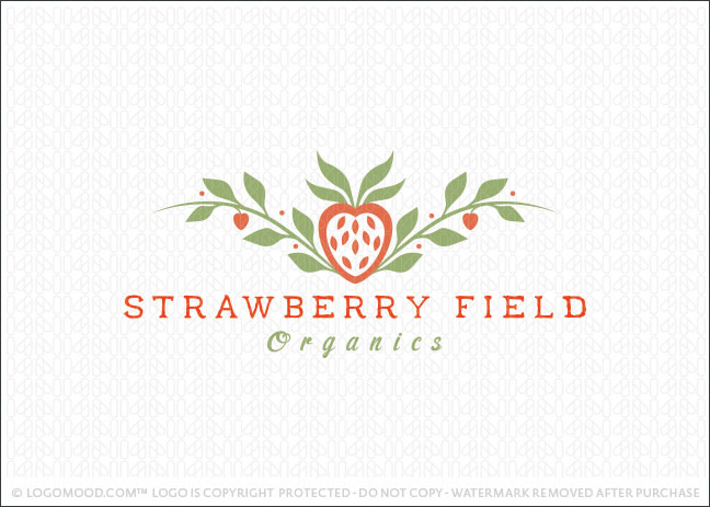 Strawberry Field Organics Logo For Sale