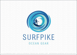 Surf Pike Water Waves Logo Sale