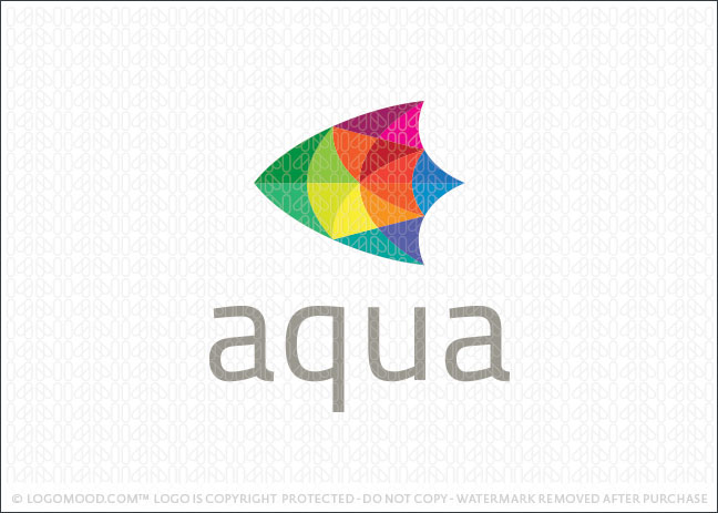 Aqua Tropical Fish Logo For Sale