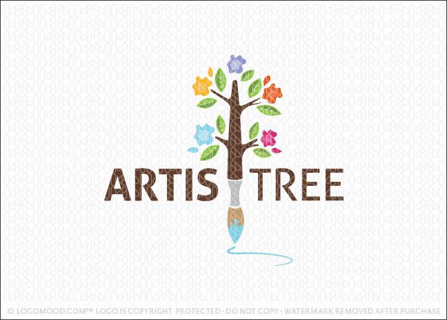 Artistree Paint Brush Tree Logo For Sale