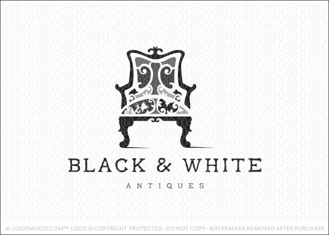 Black and White Antique Chair Logo For Sale