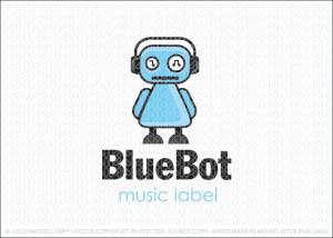 Blue Bot Music Robot Logo For Sale