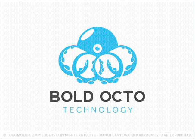 Bold Blue Octopus Logo For Sale