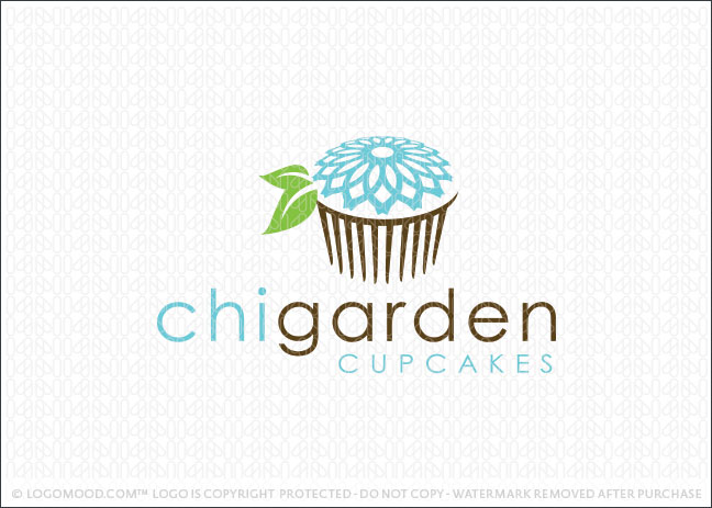 Chi Garden Cupcake Bakery Logo For Sale
