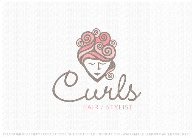 Readymade Logos For Sale Curls Hair Stylist Readymade
