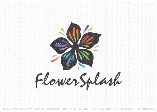 Flower Colour Splash Logo For Sale