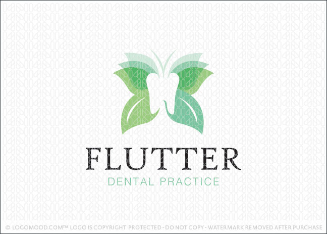 Flutter Butterfly Dental Practice Logo For Sale