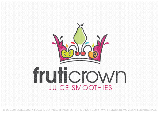 Fruity Crown Juice Smoothie Logo For Sale