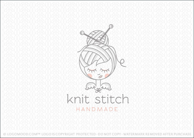 Knit Stitch Girl Logo For Sale