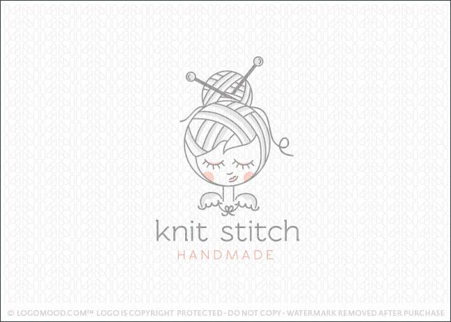 Knitting Logo Ideas : Readymade logos for sale knit stitch girl