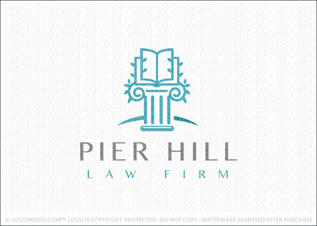 Law Book Column Logo For Sale