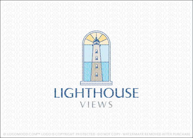 Lighthouse window view logo for sale