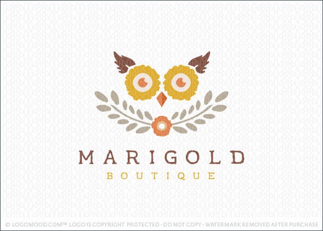 Marigold Owl Boutique Logo For Sale