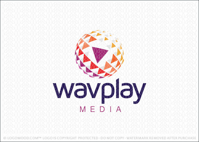 Media Wave Play Globe Logo For Sale