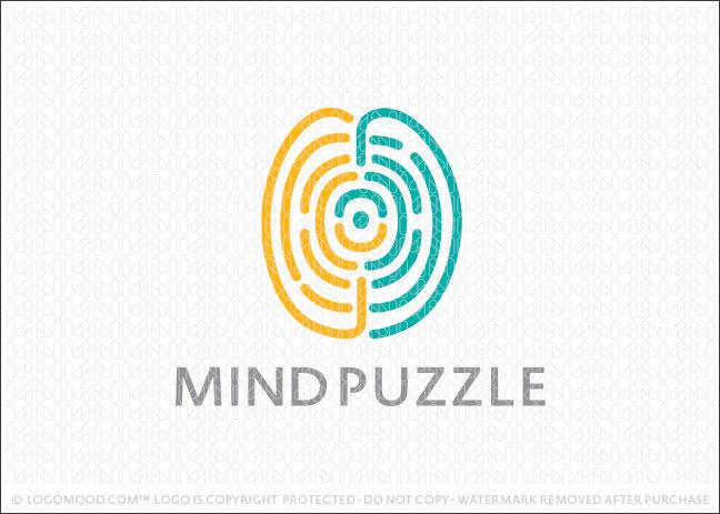 Mind Puzzle Brain Logo For Sale