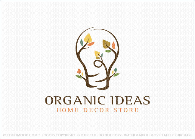 Organic Lightbulb Ideas Logo For Sale