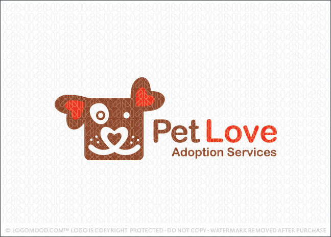 Pe tLove Animal Adoption Logo For Sale