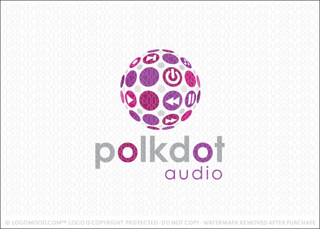 Polka Dot Music Globe Logo For Sale