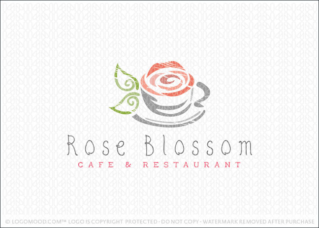 RoseBlossom Cafe and Restaurant Logo For Sale
