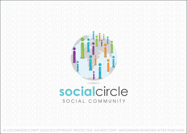 Social Word Circle Logo For Sale