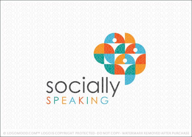 Socially Speaking Logo For Sale