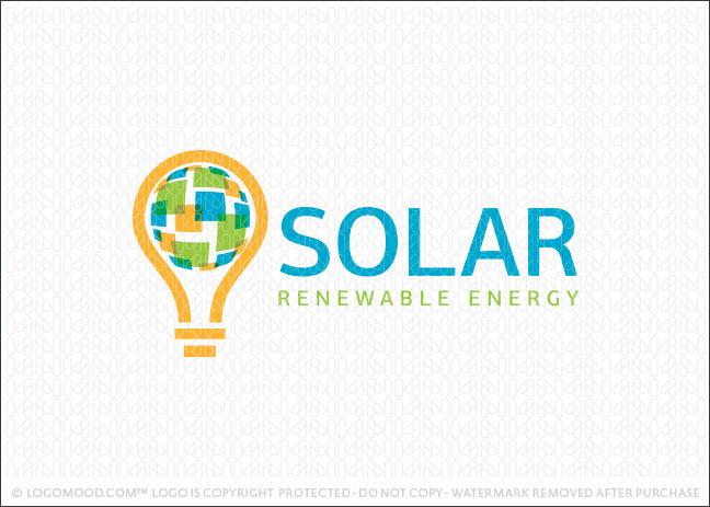 Solar Renewable Energy Logo For Sale