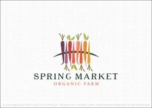 Spring Market Organic Farm Logo For Sale