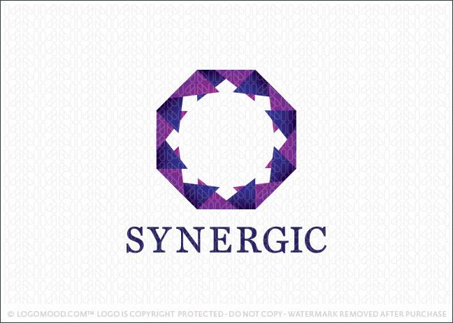 Synergic Geometric Logo For Sale