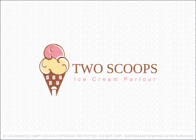 Two Scoops Ice Cream Parlour Logo For Sale