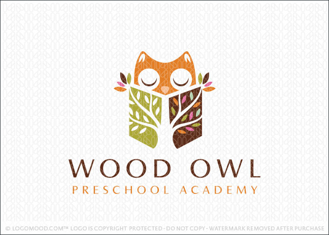 Wood Owl Academy Learning Logo For Sale