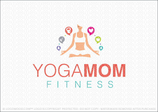 Yoga Mom Fitness Logo For Sale
