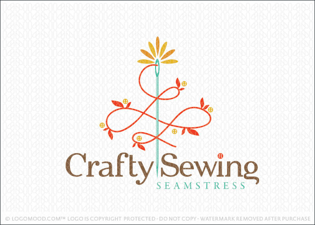 Crafty Sewing Company Logo For Sale