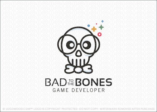 Nerd Skull Business Logo For Sale
