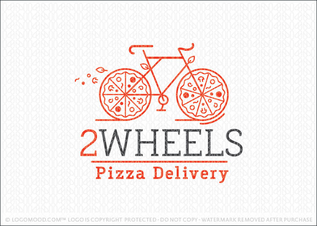 Two Wheels Bicycle Pizza Delivery Logo For Sale