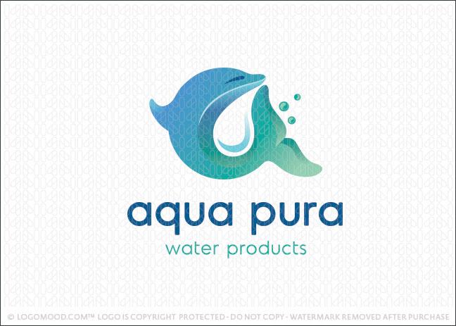 Aqua Marine Dolphin Water Business Logo For Sale