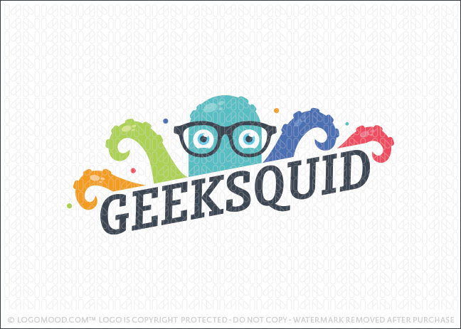 Geek Squid Octopus Logo For Sale
