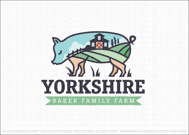 Yorkshire Pig Family Farm Logo For Sale