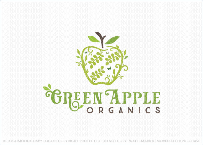 Green Apple Natural Organics Logo For Sale